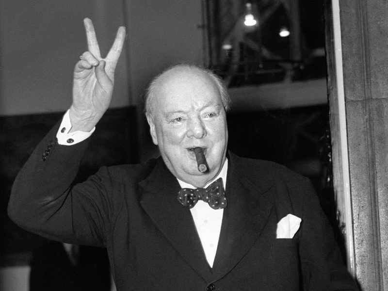File photo dated of Sir Winston Churchill giving his familiar 'V' sign. seventy years after the nation broke out in jubilant celebration at the end of the Second World War, Britons will again take to the streets to commemorate VE (Victory in Europe) Day.. Issue date: Friday May 8, 2015. See PA story MEMORIAL VEDay. Photo credit should read: PA/PA Wire