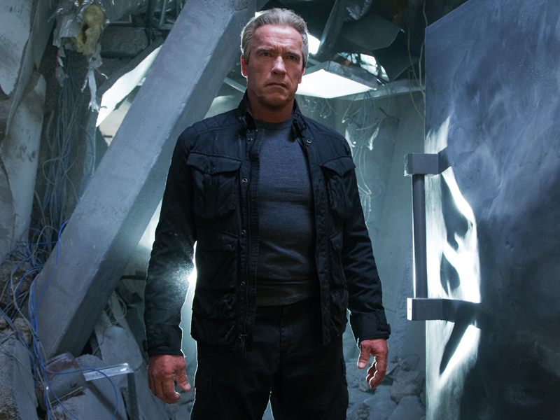 "This photo provided by Paramount Pictures shows, Arnold Schwarzenegger as the Terminator, in ""Terminator Genisys,"" from Paramount Pictures and Skydance Productions. (Melinda Sue Gordon/Paramount Pictures via AP)"