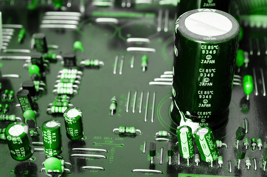 Plate of electronic components - Close-up of electronic circuit board